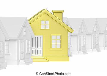 standing, dorato, casa, case, unico, fuori, fila