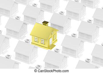 standing, dorato, folla, grigio, casa, houses., unico, fuori
