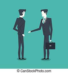 standing, due, uomini affari