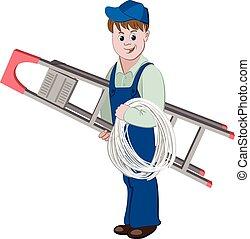 standing, elettricista, cavo, scala, illustrazione, tipo, o