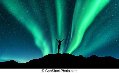 standing, elevato, donna, silhouette, aurora, su, braccia, t