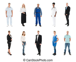 standing, elevato, medico, braccia, squadra, Felice