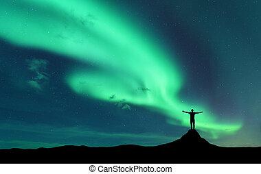 standing, elevato, silhouette, aurora, braccia, uomo