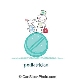 standing, enorme, pediatra, tavoletta, bambino