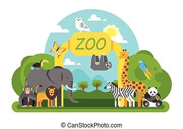 standing, entrance., animali, zoo