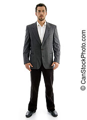 standing executive with eye wear on an isolated white ...