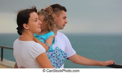 standing family with little girl in mother\'s hands looks at sea