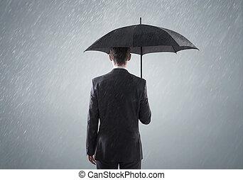 standing, far male, giovane, pioggia, busienssman