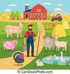 standing, felice, concetto, animali, campi, appartamento, eco, grande, infographics, illustrazione, design., fattoria, set, vettore, crop., contadino, fronte, agricolo, agricoltura, paesaggio, granaio