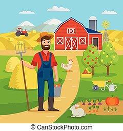 standing, felice, concetto, giardino, campi, appartamento, eco, grande, infographics, illustrazione, design., fattoria, set, vettore, crop., contadino, fronte, agricolo, agricoltura, paesaggio, granaio