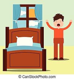standing, felice, su, giovane, letto, prossimo, braccia, veglia, uomo