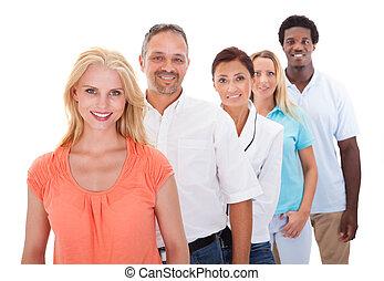 standing, fila, gruppo, multi-etnico, persone