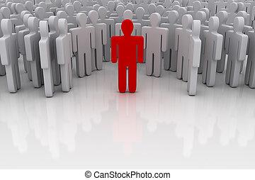 standing, folla, fuori