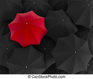 standing, folla., ombrello, vista superiore, illustrazione, nero, unico, fuori, rosso, 3d