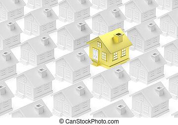standing, folla, oro, casa, houses., unico, fuori