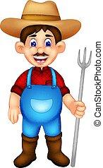 standing, forchetta, portare, contadino, sorridente, cartone animato, bello