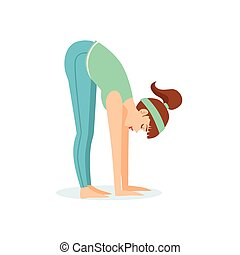 Standing Forward Bend Uttanasana Yoga Pose Demonstrated By The Girl Cartoon Yogi With Ponytail In Blue Sportive Clothing Vector Illustration