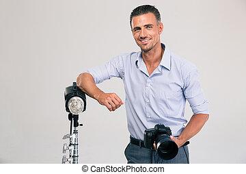 standing, fotografo, macchina fotografica
