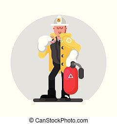 standing, fuoco, pompiere, estintore