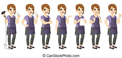 standing, gesti, differente, donna, parrucchiere