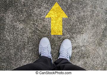 standing, giallo, tarmac, freccia, stampa, strada