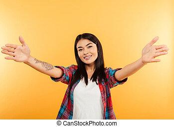 standing, giovane, asiatico, ritratto, ragazza, felice