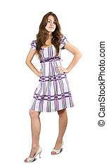 Standing girl in checked dress