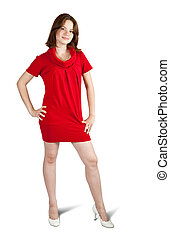 Standing girl in red dress