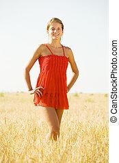 Standing girl on rye