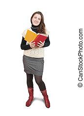 Standing girl reading book
