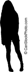 Standing girl's silhoutte