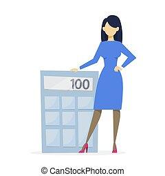 standing, grande, calcolatore, affari donna