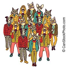 Standing group people with cats and dogs heads