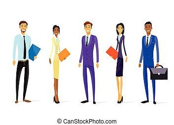 standing, gruppo, persone affari, carattere, diverso, ...
