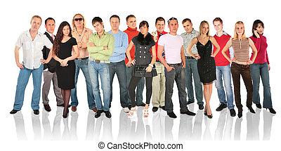 standing, gruppo, persone