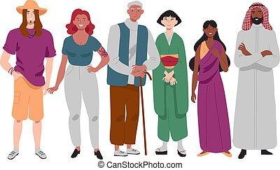 standing, gruppo, persone, diverso, multi-etnico, insieme.