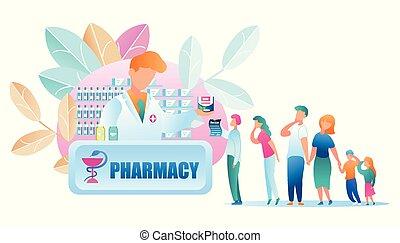 standing, gruppo, persone, illustrazione, farmacia, linea