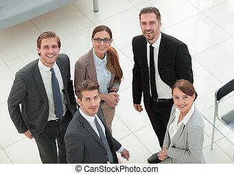 standing, gruppo, ufficio, persone affari, banca