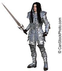 standing, guerriero, -, elfo