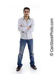 standing handsome man with crossed arms on an isolated...