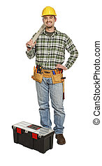 standing handyman with spirit level isolated on white
