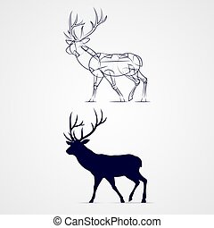 Deer Silhouette - Standing Horned Deer Silhouette with...