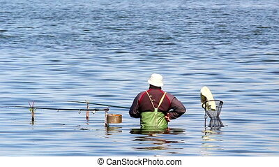 fisher - Standing in a lake fisherman catches a fish.