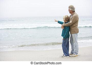 standing, inverno, insieme, nonno, figlio, spiaggia