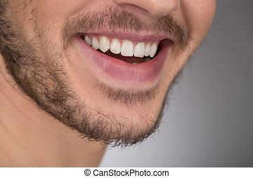 standing, isolato, immagine, uomini, grigio, raccolto, giovane, mentre, sorridente, smile., felice