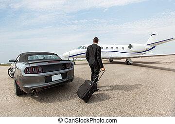 standing, jet, automobile, privato, terminale, uomo affari