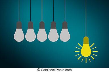standing, lampadine, luce, uno, altro, bulbo, fuori