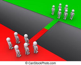 standing, lati, squadre, due, opposto