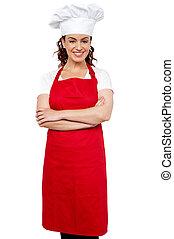 standing, lei, braccia, chef, attraversato, femmina