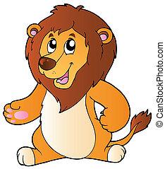 standing, leone, cartone animato